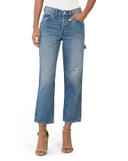 High Rise Straight Cropped Jeans