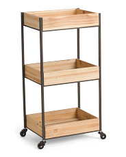 Metal And Wood Shelf With Wheels