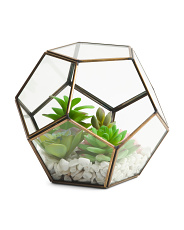 Faux Mixed Succulents In Terrarium