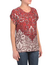 Rolled Sleeve Printed Top