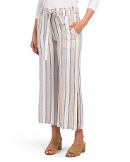 Juniors Paperbag Waist Linen Blend Pants