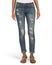 Juniors Mid Rise Destructed Cuffed Jeans