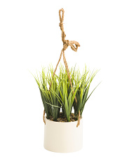4.75in Grass In Hanging Ceramic Plant
