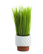 Faux Grass In Reverse Pot
