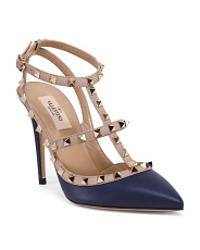 Made In Italy Rockstud Leather Stiletto Heels