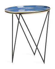 Side Table With Enamel Tray