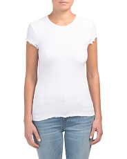 Ribbed Ruffle Edge T-shirt