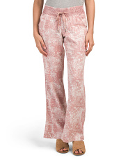 Juniors Printed Smocked Linen Pants
