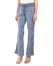 Juniors Smocked Printed Linen Pants