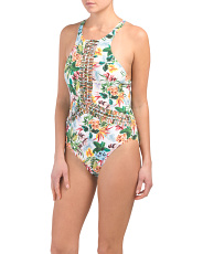 Macrame High Neck One-piece Swimsuit