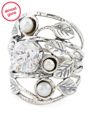Made In Israel Sterling Silver Pearl And Cz Ring