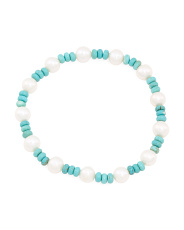 12mm Howlite And Pearl Stretch Bracelet