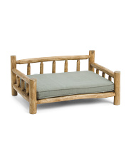 Wooden Pet Bed With Removable Cushion