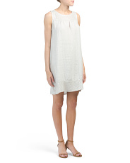 Made In Italy Linen Sequin Neck And Hem Dress