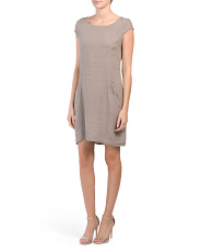 Made In Italy Cap Sleeve Linen Dress