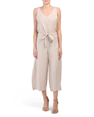Made In Italy V Neck Linen Jumpsuit