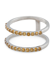 Made In Turkey Sterling Silver Citrine 2 Row Ring