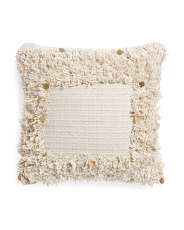 18x18 Fringe Border With Sequins Pillow