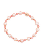 Made In Italy Rose Pearl And Pink Quartzite Bead Bracelet