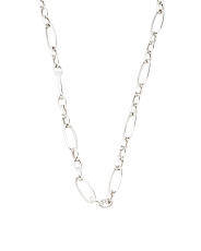 Made In Italy Sterling Silver Long Link Heart Charm Necklace