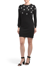 Made In Italy Cashmere Blend Dot Intarsia Sweater Dress