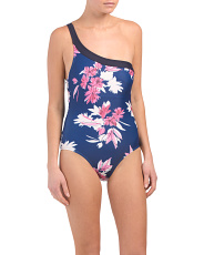 One Shoulder Floral One-piece Swimsuit
