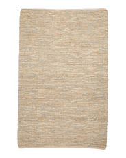 Hand Woven Leather And Jute Rug