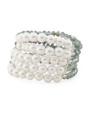 5 Row Pearl And Aurora Borealis Crystal Bracelet