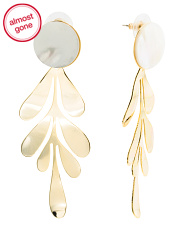 Mother Of Pearl And Gold Tone Open Circle Earrings