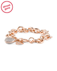 Made In Italy  Cz Puff Heart Charm Bracelet