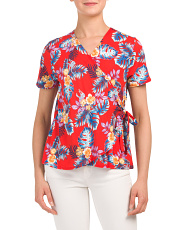 Made In Usa Tropical Floral Wrap Top