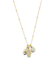 Gold Plated Sterling Silver Cz Charm Necklace