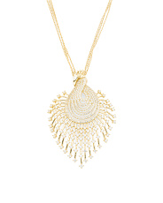Gold Plated Sterling Silver Pave Peacock Necklace