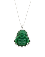 Sterling Silver Cz Buddha Necklace