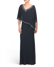 Made In India Beaded Capelet Gown