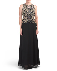 Made In India Hand Beaded Sleeveless Gown