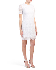Petite Short Sleeve Lace Dress