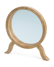 Round Wooden Table Mirror
