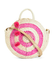 Color Block Circle Woven Straw Crossbody