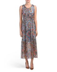 Made In Italy Floral Print Silk Blend Maxi Dress