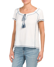 Short Sleeve Tie Top