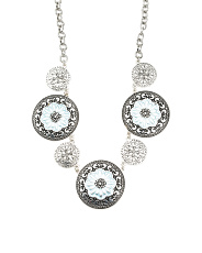 Blue Flower Disc Statement Necklace