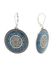 Scrollwork Shield Earrings With Navy Accents