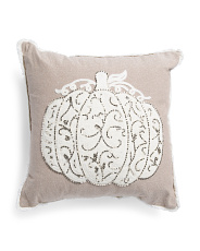 18x18 Beaded Pumpkin Decorative Pillow