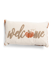 14x24 Knotted Welcome Pumpkin Pillow
