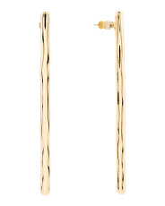 12k Gold Plated Hammered Long Bar Earrings