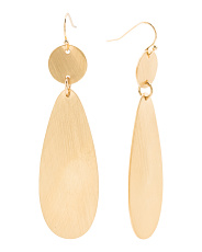 Brushed Finish Double Drop Earrings