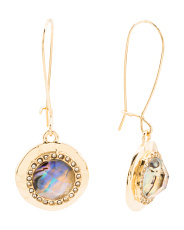 Crystal Halo Abalone Drop Earrings