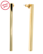 Made In Usa 14k Gold Plated Linear Stick Earrings