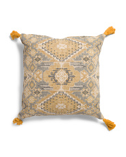 20x20 Rug Print Pillow With Tassels